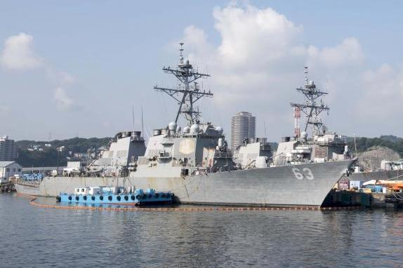 USA  warship sails close to S. China Sea island occupied by Beijing