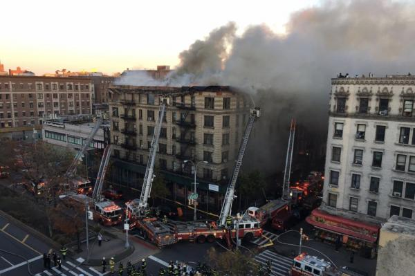 170 firefighters battle fire in NYC apartment building