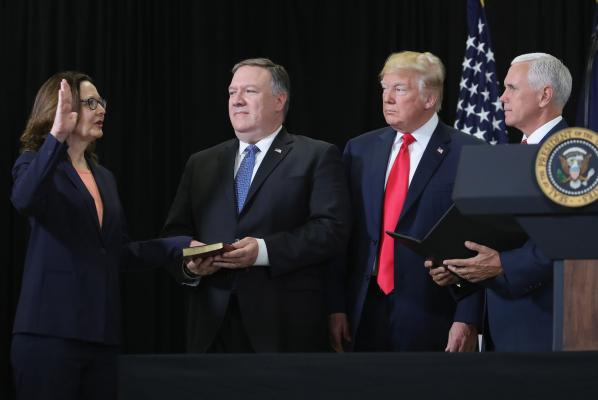 Trump praises Haspel as she takes over at CIA