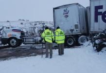 Blizzard Condition Cause Pile-Up Near Cheyenne