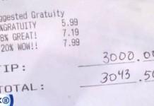 NY Waitress Received 3000 Dollar Tip