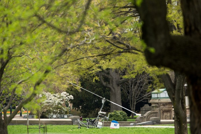 Small Aircraft Lands on Capitol Lawn