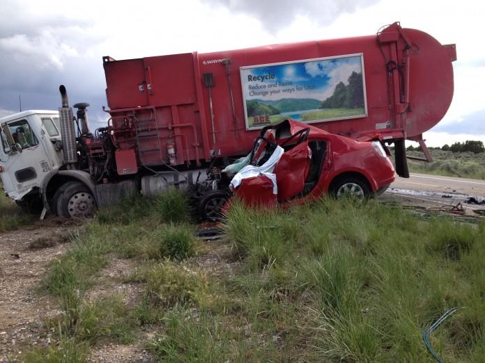Garbage Truck Accident Cedar Fort