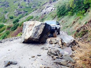 A Farmington Canyon road closed to foot and vehicle traffic in the  wake of a massive rock slide. - Photo: Davis Co. Sheriff's Office