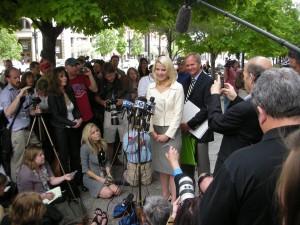 Elizabeth Smart addresses the media in Salt Lake City press conference. Photo: Gephardt Daily