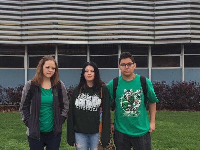 Showing their #huskypride Hillcresit High students Brooke Gardiner, Abel Zarate and Sydney Thorlackson