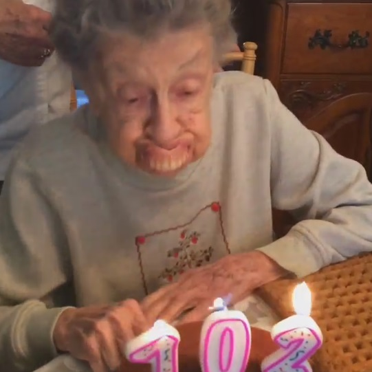 Birthday Granny, 102, Blows Out Candles