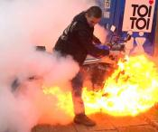 Motorcycle Bursts Into Flames During Burnout