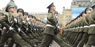 ussian military cadets march during the Victory Day parade Red Square in Moscow