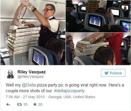 Delta Passengers Get Pizza Party