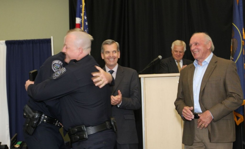 Sergeant Brett Miller accepting his promotion (Photo Courtesy : Chris Fielding)