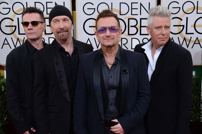 U2 during appearance at Golden Globe Awards