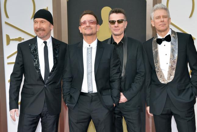 Bono and the members of U2 arrive on the red carpet at the 86th Academy Awards at Hollywood & Highland Center in the Hollywood section of Los Angeles on March 2, 2014. File photo by Kevin Dietsch/UPI | License Photo