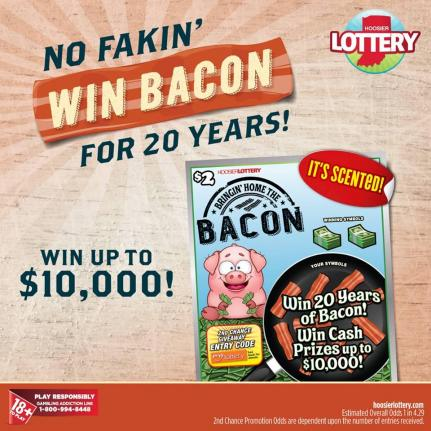 Bacon-scented Indiana Lottery Scratch-off