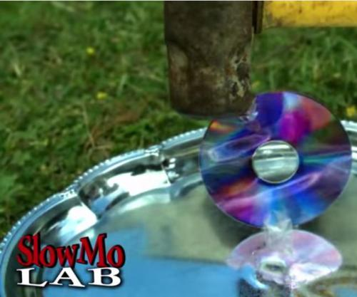 CD Smashed by Sledgehammer in Slow Motion