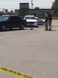 Police in the scene of an Ogden shooting that left one man in critical condition. Photo: Gephardt Daily