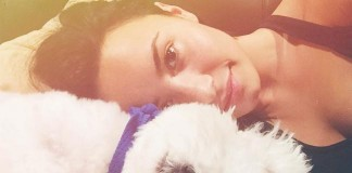 Demi Lovato With Her Pet Dog Buddy