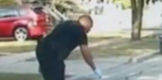 Michigan Officer Freeing a Baby Skunk
