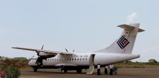 Trigana Air Service ATR 42-300 double-propeller airplane