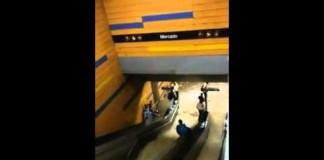 Flood Waters Rush into Venezuelan Subway Station