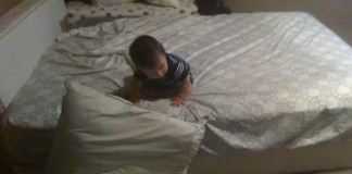 Genius Cali Baby Uses Pillows for  Soft Landing