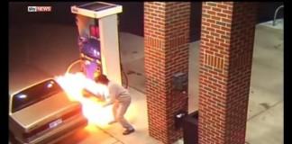 Center Line Michigan Gas Gump on Fire