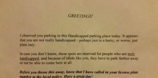 Disabled Parking Anonymous Note