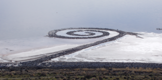 Spiral Jetty from atop Rozel Point, Utah