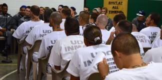Football team visits prison