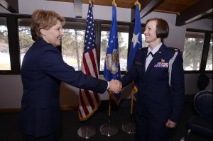 Maj. Phyllis Pelky (right), 45, a former aide-de-damp to Lt. Gen. Michelle D. Johnson (left), the superintendent of the U.S. Air Force Academy, was killed in a non-hostile helicopter crash near Kabul, Afghanistan, Oct. 11, 2015. U.S. Air Force photo by Mike Kaplan