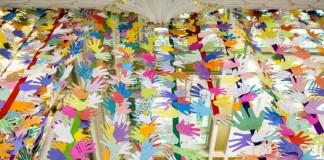 Children's Handprints Displayed On Temple Square