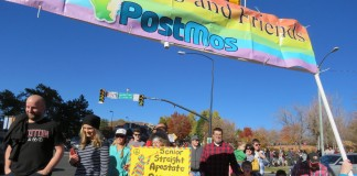 Some who attended the Nov. 14 LDS Mass Resignation event in Salt Lake City marched to a nearby mailbox to send their resignation paperwork on its way. Photo: Gephardt Daily