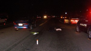 An auto-pedestrian accident in Syracuse injured a Syracuse firefighter Saturday night. Photo Courtesy: Utah Highway Patrol
