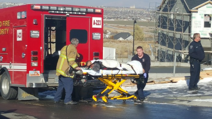 Two men were injured Tuesday afternoon in an industrial accident in Herriman. The men were building a wall, which fell on them. Photo: Gephardt Daily