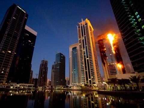 Fire Erupts Inside Dubai Skyscraper