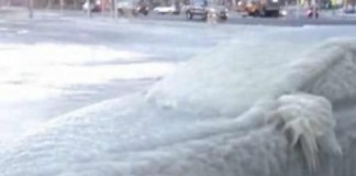 Ice-Encased Car