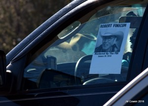 Fliers distributed at the funeral of Robert LaVoy Finicum claim he was murdered by the FBI. Photo: Gephardt Daily/Jamie Cowen