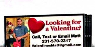 Billboard Seeking 'Valentine'