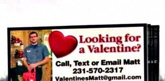 Billboard Seeking 'Valentine'
