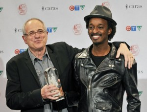 Bob Ezrin (L) and K'naan attend the 2011 Juno Awards at the Air Canada Centre in Toronto, Canada on March 27, 2011. UPI/Christine Chew