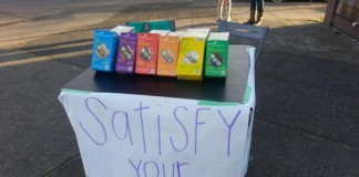 Girl Scout Sells Cookies Outside