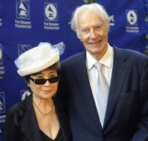 Yoko Ono (L), widow of former Beatles member John Lennon, and Beatles music producer Sir George Martin attend the Grammy Foundation's Starry Night gala honoring Martin in Los Angeles on July 12, 2008. File Photo by Jim Ruymen/UPI