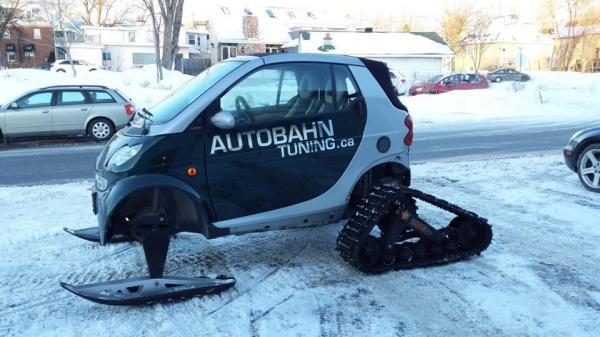 Canadian Mechanic Converts Smart Car Into Snowmobile ...