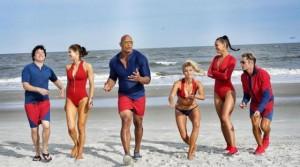 """Baywatch"" stars Jon Bass, Alexandra Daddario, Dwayne Johnson, Kelly Rohrbach, Ilfenesh Hadera and Zac Efron (L-R). Photo by Dwayne Johnson/Instagram"