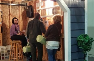 Where better to discuss sheds than from inside one? Photo: Gephardt Daily