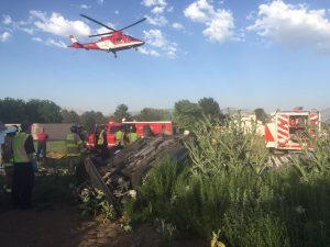 A LifeFlight medical helicopter evacuates a critically injured 28-year-old man to a Salt Lake City hospital from Plain City the nght of Wednesday, June 15, 2016. Photo: Weber County Sheriff's Office
