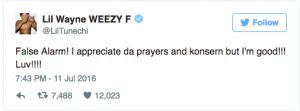 Photo Courtesy: Lil Wayne Weezy F / Twitter