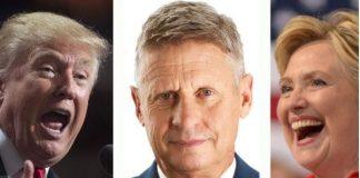 Donald Trump, Gary Johnson, Hillary Clinton
