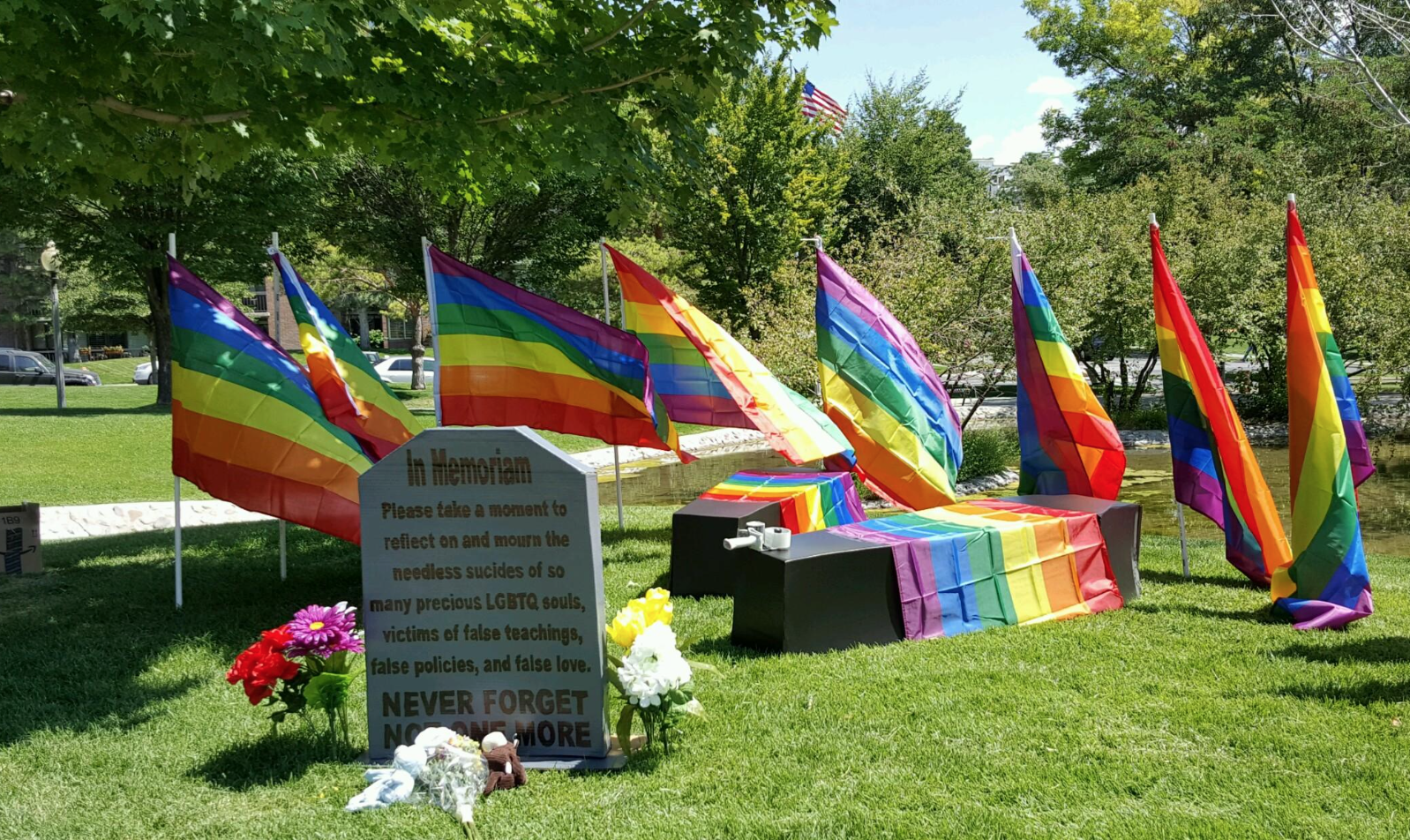 This memorial was set up in honor of LGBTQ church members who reportedly committed suicide because the LDS Church had no place for them, organizers said. Photo: Gephardt Daily/Nancy Van Valkenburg