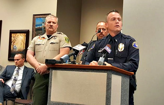 Lt. Kelly Bennett, Clearfield Police Department, spoke at a news conference about the fatal officer-involved shooting of a Layton man on Wednesday morning. Photo: Gephardt Daily